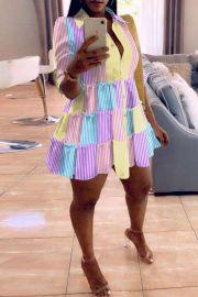 Women's Color Stripe Dress Nihaostyles Clothing Wholesale NSWNY74484