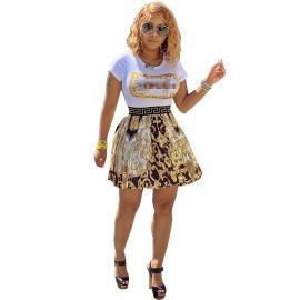 Women's Short Sleeve Round Neck Pattern Dress Nihaostyles Clothing Wholesale NSWNY74489