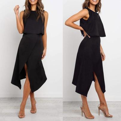 Women's Round Neck Button Split Two-piece Nihaostyles Clothing Wholesale NSWNY74504