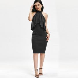 Women's Multicolor Ruffled Slim Dress Nihaostyles Clothing Wholesale NSWNY74521