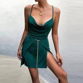 Sexy Halter Lace-up Dress Nihaostyles Wholesale Clothing Vendor NSXPF74547