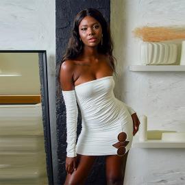 Sexy Pleated Halter One-shoulder Dress Nihaostyles Wholesale Clothing Vendor NSXPF74548