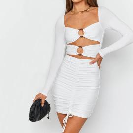 Sexy Plain Color Long-sleeved Dress Nihaostyles Wholesale Clothing Vendor NSXPF74557