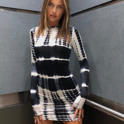 Sexy Tie Dye Slim Print Dress Nihaostyles Wholesale Clothing Vendor NSXPF74567