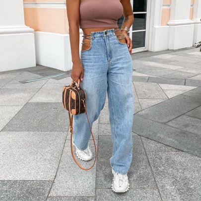 Sexy High Waist Washed Chain Straight Leg Jeans Nihaostyles Wholesale Clothing Vendor NSXPF74583