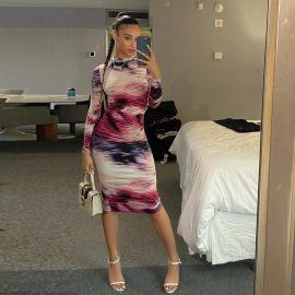Slim Printed Long-sleeved Dress Nihaostyles Wholesale Clothing Vendor NSXPF74588