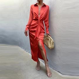 Sexy Lace-up Long-sleeved Shirt Dress Nihaostyles Wholesale Clothing Vendor NSXPF74589
