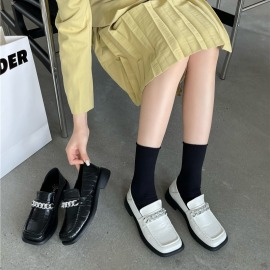 Metal Chain Low Heel Loafers Nihaostyles Wholesale Clothing Vendor NSCA74594