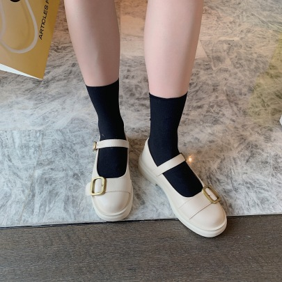 Metal Buckle Round Toe Leather Shoes Nihaostyles Wholesale Clothing Vendor NSCA74606