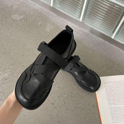 Round Toe Soft Leather Flat Shoes Nihaostyles Wholesale Clothing Vendor NSCA74607