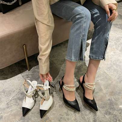 Color Matching Pointed Pearl Low Heels Nihaostyles Wholesale Clothing Vendor NSCA74609