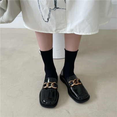 New Square-toe Chain Loafers Nihaostyles Wholesale Clothing Vendor NSCA74618