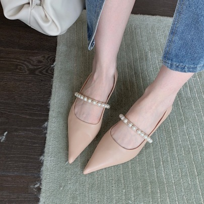 Shallow Pointed Toe Low-heeled Pearl Shoes Nihaostyles Wholesale Clothing Vendor NSCA74625