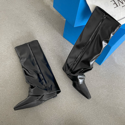 Pointed Zipper High Boots Nihaostyles Wholesale Clothing Vendor NSCA74627