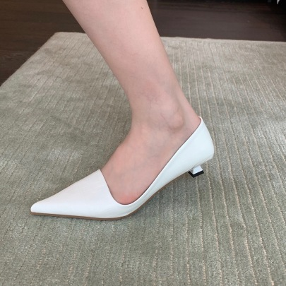 Silver Solid Color Low-top Low-heeled Pumps Nihaostyles Wholesale Clothing Vendor NSCA74634