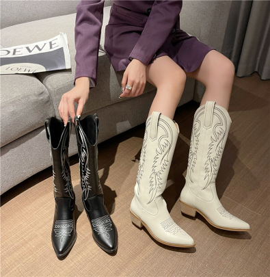 Pointed Embossing Long Boots Nihaostyles Wholesale Clothing Vendor NSCA74639