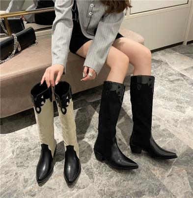 Retro Thick Long Barrel Cowboy Knee-length Boots Nihaostyles Wholesale Clothing Vendor NSCA74640