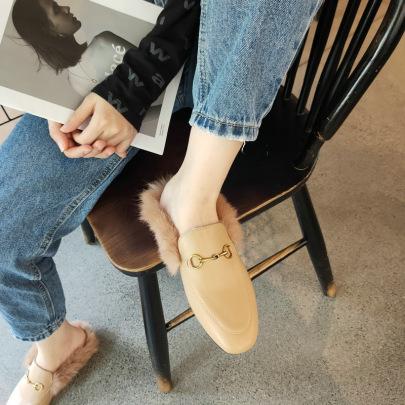 Metal Decor Furry Flat Shoes Nihaostyles Wholesale Clothing Vendor NSCA74645