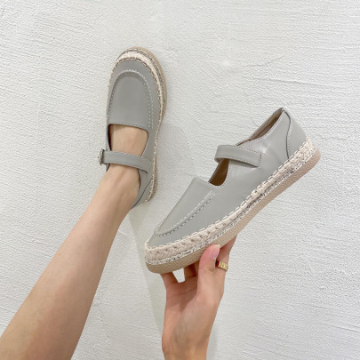 Thick-soled Straw Plain Color Shoes Nihaostyles Wholesale Clothing Vendor NSCA74655