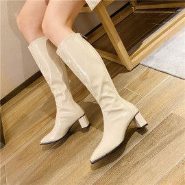 Square Head Knight High-tube Patent Leather Thick Heeled Boots Nihaostyles Wholesale Clothing Vendor NSCA74660