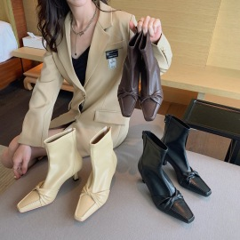 Elastic Soft Leather Bow Thin Boots Nihaostyles Wholesale Clothing Vendor NSCA74663