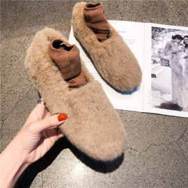 Solid Color Fluffy Flat Shoes Nihaostyles Wholesale Clothing Vendor NSCA74664