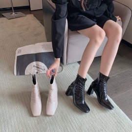 Pleated Patent Leather Square Toe Thick Heel Boots Nihaostyles Wholesale Clothing Vendor NSCA74666