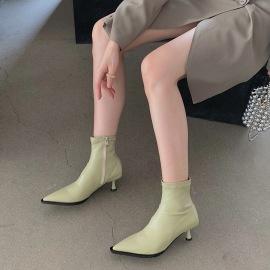 Elastic Zipper Pointed Toe Short Boots Nihaostyles Wholesale Clothing Vendor NSCA74667