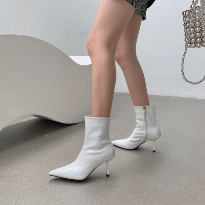 Pointed Patent Leather High-heeled Short Boots Nihaostyles Wholesale Clothing Vendor NSCA74669