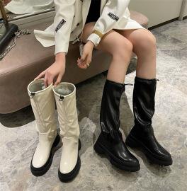 White High-tube Fold Pile Boots Nihaostyles Wholesale Clothing Vendor NSCA74670