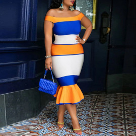 Women's Tube Top One Word Collar A Word Fishtail Dress Nihaostyles Clothing Wholesale NSCYF74676