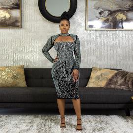 Women's Long-sleeved Zipper Rhinestone Dress Nihaostyles Clothing Wholesale NSCYF74680