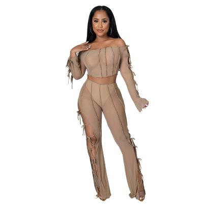 Women's Long Sleeve Tube Top With Slim Tie Slim Pants Two-piece Nihaostyles Clothing Wholesale NSCYF74682