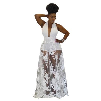 Women's V-neck Halterneck Embroidered Lace-up Dress Nihaostyles Clothing Wholesale NSCYF74683