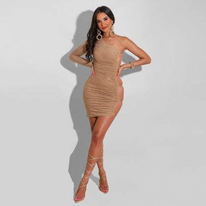 Women's Rhinestone Side Hollow Oblique Shoulder Dress Nihaostyles Clothing Wholesale NSCYF74684