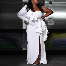 Women's Strapless Slit Ruffled Large Size Dress Nihaostyles Clothing Wholesale NSCYF74687