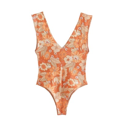 Women's Sling Flower Printing One-piece Swimsuit Nihaostyles Clothing Wholesale NSAM74255