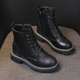 Flat Lace-up Side Zip Martin Boots Nihaostyles Clothing Wholesale NSYUS74926