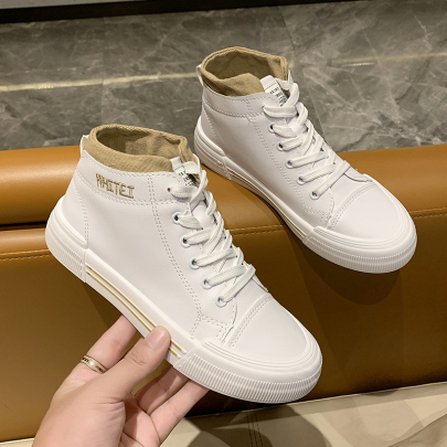 Flat High-top Shoes With Lace-up Shoes Nihaostyles Clothing Wholesale NSYUS74919