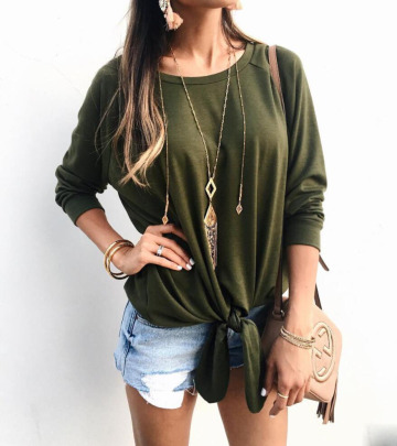 Knotted Irregular Long-sleeved T-shirt Nihaostyles Wholesale Clothing Vendor NSOUY74918