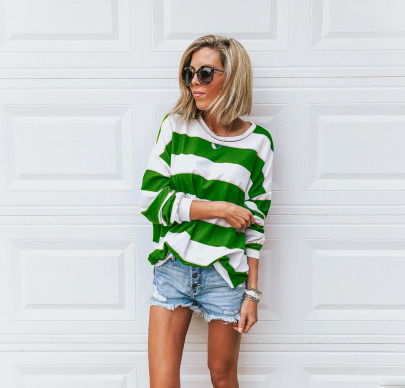 Loose Round Neck Long-sleeved Printed Striped T-shirt Nihaostyles Wholesale Clothing Vendor NSOUY74916