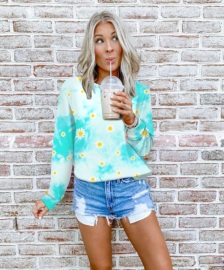 Fashion Printing Tie-dye Round Neck Long-sleeved Color Striped Sweatshirt Nihaostyles Wholesale Clothing Vendor NSOUY74915