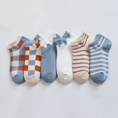 Plaid Short Polyester Cotton Women's Socks 6-pairs NSASW74689