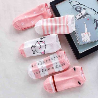 Cute Cartoon Low Cut Polyester Cotton Women's Socks 10-pairs NSASW74694