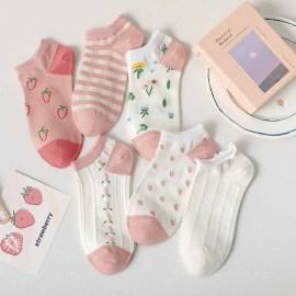 Pink Strawberry Socks 6-pairs NSASW74701