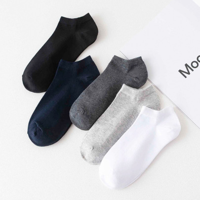 Breathable Wild Combed Cotton Thin Short Socks 5-pairs NSASW74718