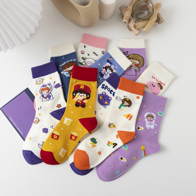 Cute Combed Cotton Tube Socks 10-pairs NSASW74721