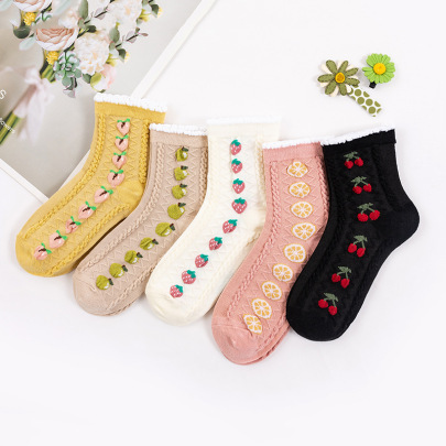 Three-dimensional Lace Combed Cotton Socks 5-pairs NSASW74722