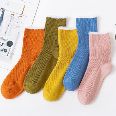 Women's Medium Tube Plush Lace Combed Cotton Solid Color Socks 5-pairs NSASW74734