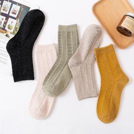 Women's Medium Tube Solid Color Lamb Wool Socks 5 Pairs NSASW74735